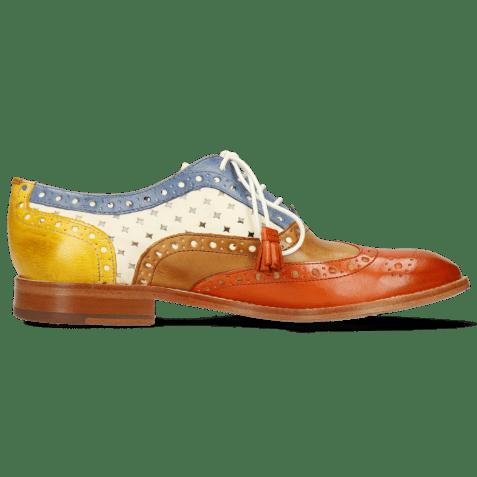 Oxford schoenen Amelie 70 Vegas Orange Tan Wind Yellow Perfo White