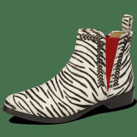 Enkellaarzen Marlin 10 Hairon Zebra Elastic Red