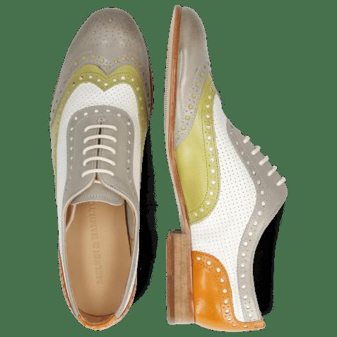 Oxford schoenen Sally 97 Salerno Light Grey Mint Orange Nappa Perfo White