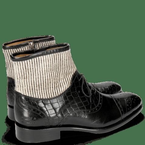 Enkellaarzen Patrick 4 Crock Black Hairon Stripes