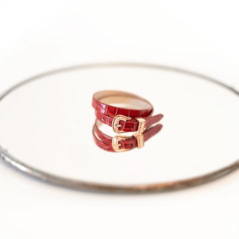 Armbanden Ines 1 Crock Red Buckle Rose Gold