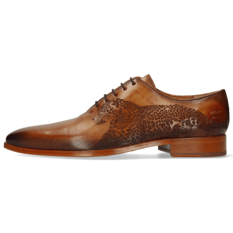 Oxford schoenen Lewis 37 Tan Shade Dark Brown Lasercut Leopard