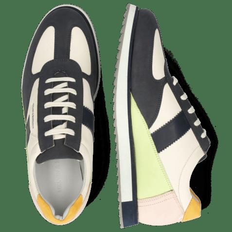 Sneakers Nadine 1 Nubuck Navy Cream White Lime Rose Kumquat