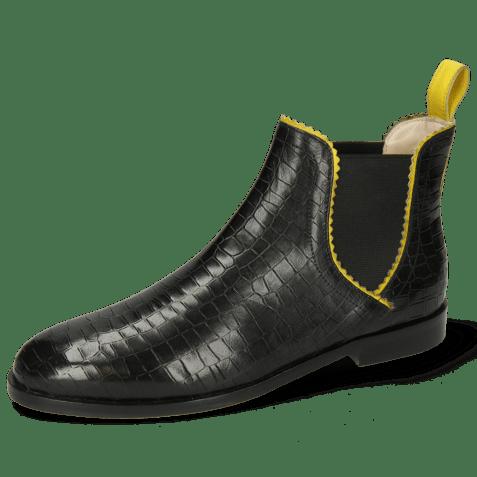 Enkellaarzen Susan 67 Big Croco Black Binding Fluo Yellow