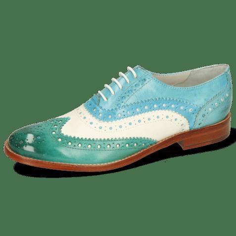 Oxford schoenen Amelie 10 Vegas White Turquoise Abyss Mermaid