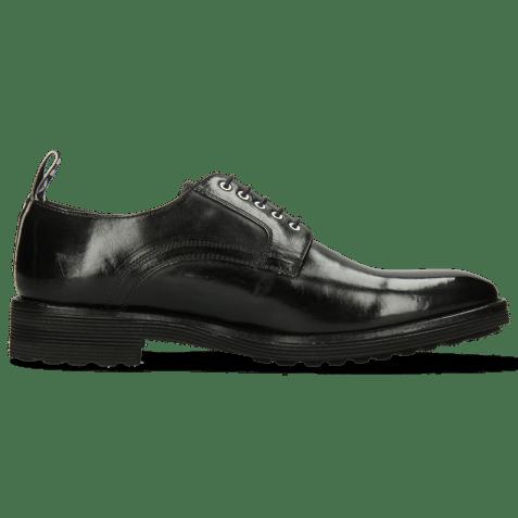 Derby schoenen Eddy 54 Black Eyelets White Strap