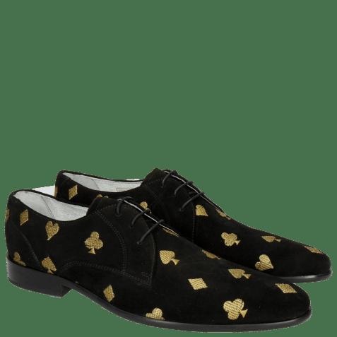 Derby schoenen Toni 1 Suede Black Embroidery Heartpeak