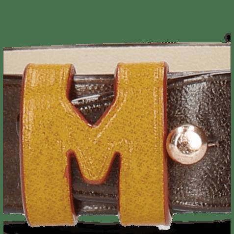 Armbanden Archie 1 Dark Brown Loops Yellow Studs Nickle