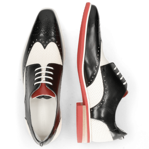Derby schoenen Dave 2 Black Vegas Perfo White Nappa Red