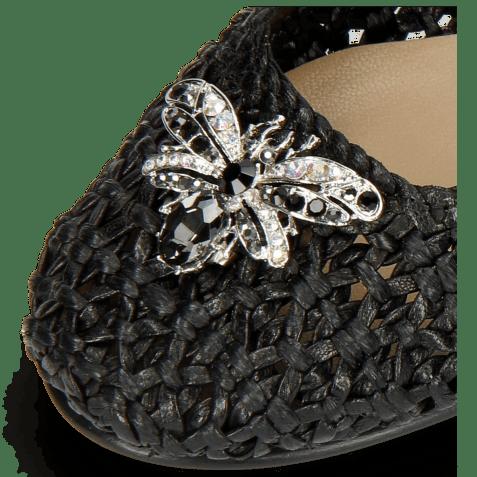 Ballerina's Kate 5 Woven Black Raffia Accessory Bee