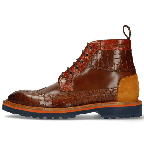 Enkellaarzen Matthew 9 Crock Mid Brown Winter Orange Suede Pattini