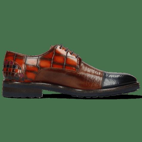 Derby schoenen Eddy 11 Ostrich Navy Lizzard Wood Turtle Winter Orange