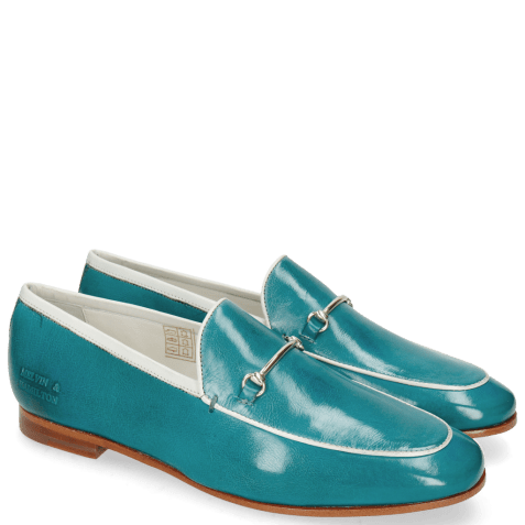 Loafers Scarlett 47 Pisa Turquoise Nappa Binding White Trim Gold