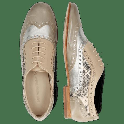 Oxford schoenen Sonia 1 Vegas Light Grey Talca Steel Glove Nappa Ivory Snake