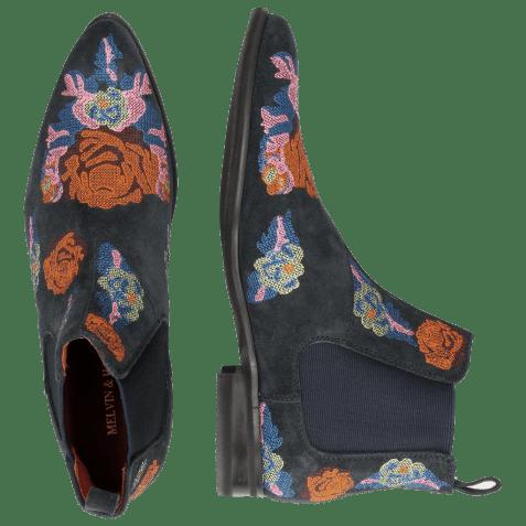 Enkellaarzen Toni 7 Suede Navy Embroidery Orange Blue Multi Modica Dark Grey