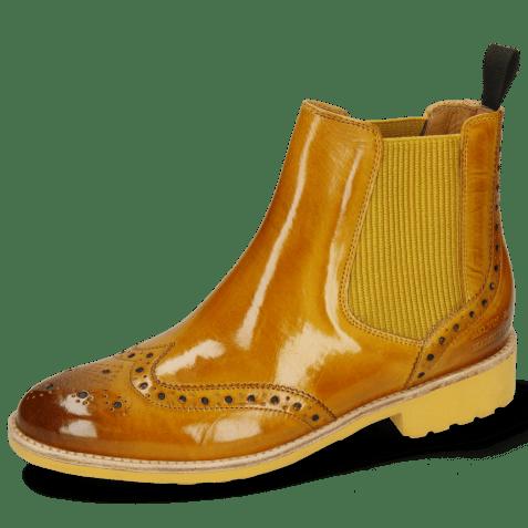 Enkellaarzen Selina 6 Indy Yellow Elastic Ribbed Mustard