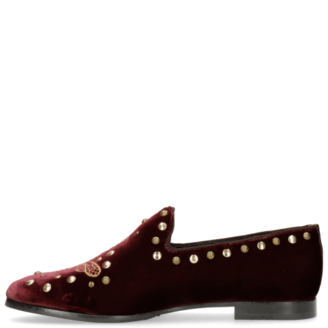 Loafers Scarlett 38 Velluto Wine Embroidery
