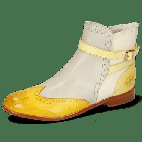 Enkellaarzen Selina 25 Vegas Yellow Digital White Margarine Strap