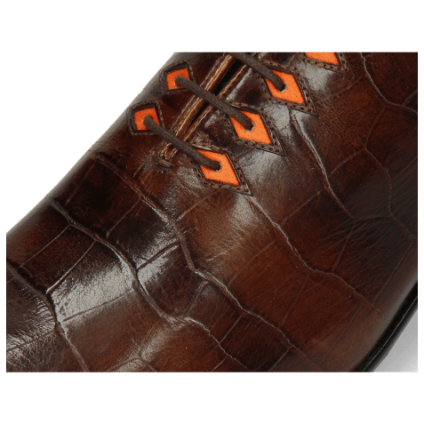 Oxford schoenen Lance 28 Big Croco Mid Brown Eyelet Fluo Orange