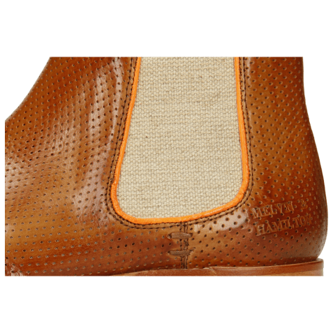 Enkellaarzen Amelie 4  Pavia Perfo Tan Binding Fluo Orange