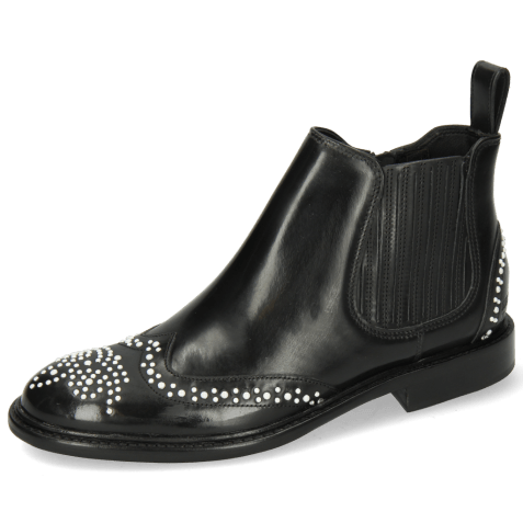 Enkellaarzen Sally 46 Rubber Black Rivets White
