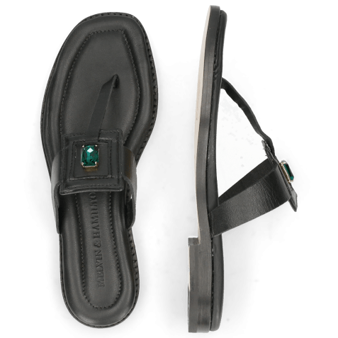 Muiltjes Elodie 30 Nappa Black Stone Emerald