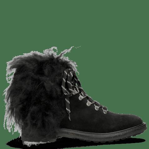 Enkellaarzen Amelie 79 Suede Pattini Black Collar Fur Mongolian
