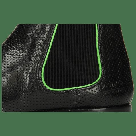 Enkellaarzen Amelie 4 Pavia Perfo Black Binding Fluo Green