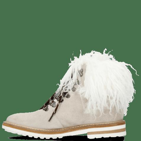 Enkellaarzen Amelie 79 Suede Pattini Jute Collar Fur Mongolian