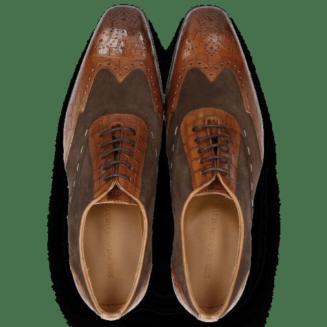 Oxford schoenen Rico 18 Venice Crock Wood Suede Pattini Dark Brown