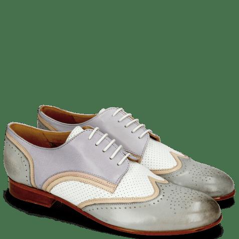 Derby schoenen Sally 15 Salerno French Grey Nude Nappa Perfo White Lavender