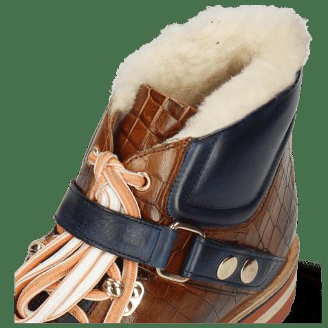 Enkellaarzen Eliza 1 Crock Wood Pisa Navy White Fur