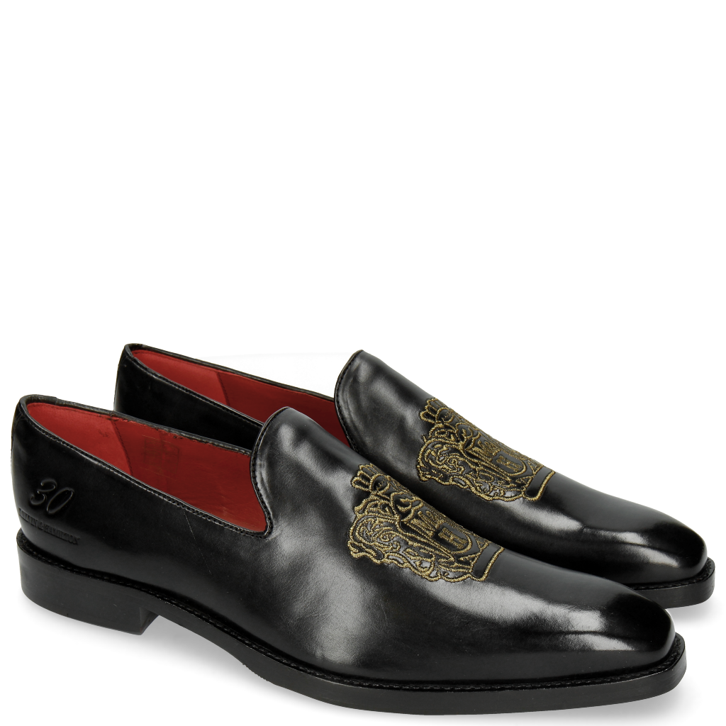 loafers men melvin \u0026 hamilton  leonardo 7 black embrodery m\u0026h crown