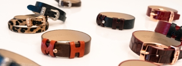 Leather items bracelets key rings Melvin & Hamilton