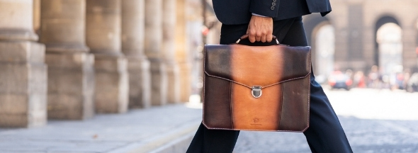 Leather briefcases by Melvin & Hamilton