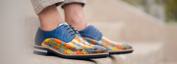 Men woven leather shoes Melvin & Hamilton